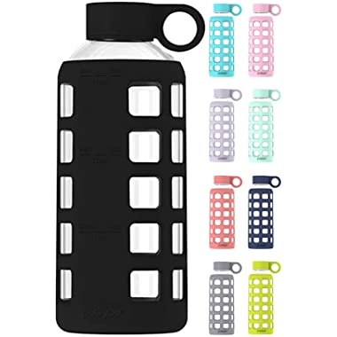 purifyou 32/22 / 12 oz Premium Glass Water Bottle with Time Marker and Thick Silicone Sleeve | Big 1 Liter or Kids Size, Insulated