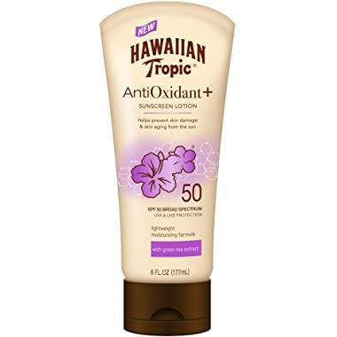 Hawaiian Tropic AntiOxidant+ Sunscreen Lotion, Lightweight Sun Protection, Broad Spectrum, SPF 50, 6 Ounces