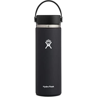 Hydro Flask Water Bottle - Stainless Steel & Vacuum Insulated - Wide Mouth 2.0 with Leak Proof Flex Cap - 20 oz, Black