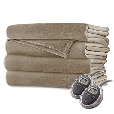 Sunbeam - Queen Size Heated Blanket Luxurious Velvet Plush with 2 Digital Controllers and Auto-Off Feature - 5yr Warranty (Mushroom Beige)