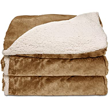 Sunbeam Heated Throw Blanket | Reversible Sherpa/Royal Mink, 3 Heat Settings, Honey