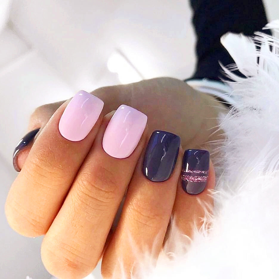 purple Acrylic short square nails design for summer nails, french manicures, short nails design, acrylic nails design, square nails design, summer nails, spring nails, simple short nails, natural short nails, glitter nails, #Nails #ShortNails #AcrylicNails #SquareNails #SummerNails